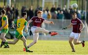 4 February 2018; Peter Cooke of Galway in action against Ryan McHugh of Donegal during the Allianz Football League Division 1 Round 2 match between Donegal and Galway at O'Donnell Park, in Letterkenny, Donegal. Photo by Oliver McVeigh/Sportsfile