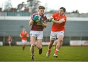4 February 2018; Luke Loughlin of Westmeath in action against Paul Hughes of Armagh during the Allianz Football League Division 3 Round 2 match between Westmeath and Armagh at TEG Cusack Park, in Mullingar, Westmeath.  Photo by Tomás Greally/Sportsfile