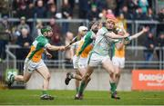 4 February 2018; Séamus Flanagan of Limerick in action against Tom Spain, left, and Ben Conneely of Offaly during the Allianz Hurling League Division 1B Round 2 match bewteen Offaly and Limerick at Bord Na Móna O'Connor Park, in Tullamore, Offaly. Photo by Daire Brennan/Sportsfile