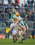 4 February 2018; Ben Conneely of Offaly in action against Séamus Flanagan of Limerick during the Allianz Hurling League Division 1B Round 2 match bewteen Offaly and Limerick at Bord Na Móna O'Connor Park, in Tullamore, Offaly. Photo by Daire Brennan/Sportsfile