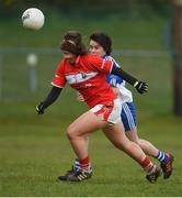 4 February 2018; Marie Ambrose of Cork in action against Cora Courtney of Monaghan during the Lidl Ladies Football National League Division 1 Round 2 match between Cork and Monaghan at Mallow GAA Complex in Mallow, Co. Cork. Photo by Diarmuid Greene/Sportsfile