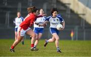 4 February 2018; Cora Courtney of Monaghan in action against Doireann O'Sulliivan of Cork during the Lidl Ladies Football National League Division 1 Round 2 match between Cork and Monaghan at Mallow GAA Complex in Mallow, Co. Cork. Photo by Diarmuid Greene/Sportsfile