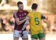 4 February 2018; Gareth Bradshaw of Galway commiserates with Ryan McHugh of Donegal after the Allianz Football League Division 1 Round 2 match between Donegal and Galway at O'Donnell Park, in Letterkenny, Donegal. Photo by Oliver McVeigh/Sportsfile