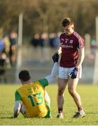 4 February 2018; Patrick McBrearty of Donegal and Eoghan Kerin of Galway at the final whistle in the Allianz Football League Division 1 Round 2 match between Donegal and Galway at O'Donnell Park, in Letterkenny, Donegal. Photo by Oliver McVeigh/Sportsfile