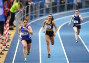 4 February 2018; Catherine McManus of Dublin City Harriers AC on her way to winning the Women's 400m during the Irish Life Health AAI Indoor Games at the National Indoor Arena in Abbotstown, Dublin. Photo by Eóin Noonan/Sportsfile