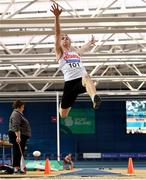 4 February 2018; Shane Keane of Crusaders AC competing in the Men's Long Jump during the Irish Life Health AAI Indoor Games at the National Indoor Arena in Abbotstown, Dublin. Photo by Eóin Noonan/Sportsfile