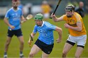 4 February 2018; Fergal Whitely of Dublin in action against Joe Maskey of Antrim during the Allianz Hurling League Division 1B Round 2 match between Antrim and Dublin at Corrigan Park, in Belfast, Antrim. Photo by Mark Marlow/Sportsfile