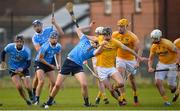 4 February 2018; Donal Burke of Dublin in action against David Kearney of Antrim during the Allianz Hurling League Division 1B Round 2 match between Antrim and Dublin at Corrigan Park, in Belfast, Antrim. Photo by Mark Marlow/Sportsfile