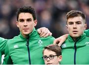 3 February 2018; Joey Carbery, left, and Luke McGrath of Ireland ahead of the NatWest Six Nations Rugby Championship match between France and Ireland at the Stade de France in Paris, France. Photo by Ramsey Cardy/Sportsfile