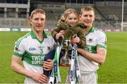 4 February 2018; Kanturk's John McLoughlin, left, and Lorcán McLoughlin and his daughter Caoimhe celebrate with the cup after the AIB GAA Hurling All-Ireland Intermediate Club Championship Final match between Kanturk and St. Patrick's Ballyragget at Croke Park in Dublin. Photo by Piaras Ó Mídheach/Sportsfile