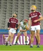 4 February 2018; Lorcán McLoughlin of Kanturk watches his late shot go over the bar as St Patrick's Ballyragget's Robert Healy, left, and Geoff Brennan look on during the AIB GAA Hurling All-Ireland Intermediate Club Championship Final match between Kanturk and St. Patrick's Ballyragget at Croke Park in Dublin. Photo by Piaras Ó Mídheach/Sportsfile
