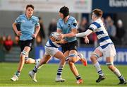 4 February 2018; Stephen Woods of St Michael's College is tackled by David Walsh and Alex Simpson of Blackrock College during the Bank of Ireland Leinster Schools Junior Cup Round 1 match between St Michael's College and Blackrock College at Donnybrook Stadium, in Dublin. Photo by Brendan Moran/Sportsfile