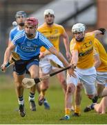 4 February 2018; Danny Sutcliffe of Dublin in action against Aaron Graffin of Antrim during the Allianz Hurling League 1B Round 2 match between Antrim and Dublin at Corrigan park, in Belfast, Antrim. Photo by Mark Marlow/Sportsfile
