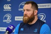 5 February 2018; Michael Bent speaking during a Leinster Rugby press conference at Leinster Rugby Headquarters in Dublin. Photo by Seb Daly/Sportsfile