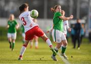 5 February 2018; Emily Whelan of Republic of Ireland in action against Amalie Littau of Denmark during the Women's Under 17 International Friendly match between Republic of Ireland and Denmark at the FAI National Training Centre in Abbotstown, Dublin. Photo by Eóin Noonan/Sportsfile
