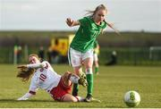 5 February 2018; Isibeal Atkinson of Republic of Ireland in action against Emma Snerle of Denmark during the Women's Under 17 International Friendly match between Republic of Ireland and Denmark at the FAI National Training Centre in Abbotstown, Dublin. Photo by Eóin Noonan/Sportsfile