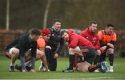 5 February 2018; Sean McCarthy, Gerbrandt Grobler, Sam Arnold, Mike Sherry, JJ Hanrahan, and Ronan O'Mahony during Munster Rugby squad training at the University of Limerick in Limerick. Photo by Diarmuid Greene/Sportsfile