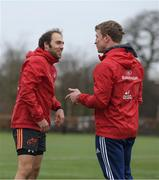 5 February 2018; Duncan Williams and forwards coach Jerry Flannery in conversation prior to Munster Rugby squad training at the University of Limerick in Limerick. Photo by Diarmuid Greene/Sportsfile