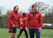 5 February 2018; Duncan Williams and forwards coach Jerry Flannery prior to Munster Rugby squad training at the University of Limerick in Limerick. Photo by Diarmuid Greene/Sportsfile