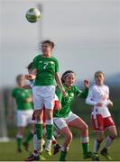 5 February 2018; Emily Whelan of Republic of Ireland wins a header during the Women's Under 17 International Friendly match between Republic of Ireland and Denmark at the FAI National Training Centre in Abbotstown, Dublin. Photo by Eóin Noonan/Sportsfile