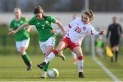 5 February 2018; Emily Whelan of Republic of Ireland in action against Selma Svendsen of Denmark during the Women's Under 17 International Friendly match between Republic of Ireland and Denmark at the FAI National Training Centre in Abbotstown, Dublin. Photo by Eóin Noonan/Sportsfile