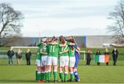 5 February 2018; Republic of Ireland players huddle ahead of the Women's Under 17 International Friendly match between Republic of Ireland and Denmark at the FAI National Training Centre in Abbotstown, Dublin. Photo by Eóin Noonan/Sportsfile