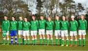 5 February 2018; Republic of Ireland players ahead of the Women's Under 17 International Friendly match between Republic of Ireland and Denmark at the FAI National Training Centre in Abbotstown, Dublin. Photo by Eóin Noonan/Sportsfile