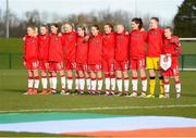5 February 2018; Denmark players ahead of the Women's Under 17 International Friendly match between Republic of Ireland and Denmark at the FAI National Training Centre in Abbotstown, Dublin. Photo by Eóin Noonan/Sportsfile