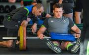 6 February 2018; CJ Stander with strength & conditioning coach Jason Cowlan during an Ireland rugby gym session at Carton House in Maynooth, Co Kildare. Photo by Brendan Moran/Sportsfile