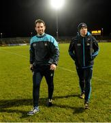 3 February 2018; Dublin high performance manager Bryan Cullen, left, and Dublin performance nutritionist Daniel Davy before the Allianz Football League Division 1 Round 2 match between Tyrone and Dublin at Healy Park in Omagh, County Tyrone. Photo by Oliver McVeigh/Sportsfile