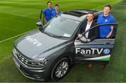 7 February 2018; Volkswagen, official sponsor of Irish Rugby and Rugby Players Ireland, launched their 'Road To Rugby' campaign at the Aviva Stadium today. A new Volkswagen Fan TV mobile unit will be at all the home games at the Aviva Stadium giving Irish fans the chance to showcase their support. Check out Volkswagen.ie/rugby for all the exclusive Fan TV videos. In attendance at the launch are, from left, former Ireland International Mike McCarthy, Volkswagen Fan TV Presenter Marty Guilfolye, Mark McGrath, Head of Marketing, Volkswagen Ireland, and former Ireland International Malcom O'Kelly, at the Aviva Stadium in Dublin. Photo by Sam Barnes/Sportsfile