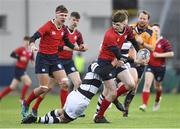 7 February 2018; Matthew Tonge of CUS in action against Joshua Maher of Belvedere College during the Bank of Ireland Leinster Schools Junior Cup Round 1 match between CUS and Belvedere College at Donnybrook Stadium in Dublin.  Photo by Eóin Noonan/Sportsfile
