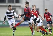7 February 2018; Kevin Gill of CUS in action against Dylan O'Grady of Belvedere College during the Bank of Ireland Leinster Schools Junior Cup Round 1 match between CUS and Belvedere College at Donnybrook Stadium in Dublin.  Photo by Eóin Noonan/Sportsfile