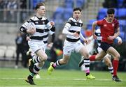 7 February 2018; Dylan O'Grady of Belvedere College on his way to scoring his side's first try during the Bank of Ireland Leinster Schools Junior Cup Round 1 match between CUS and Belvedere College at Donnybrook Stadium in Dublin.  Photo by Eóin Noonan/Sportsfile