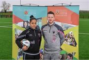 7 February 2018; IT Carlow has been successfully running two sports courses, in conjunction with the Football Association of Ireland, with students qualifying with BA in Sports Management and Coaching or BA in Sports Coaching and Business Management. Graduates from the course are now working in various roles within the sports industry around the world, including prominent positions at clubs like Manchester United, Manchester City, Reading and Leeds United as well as the SSE Airtricity League and Continental Tyres Women's National League. Pictured at the IT Carlow Sports Courses launch are Rianna Jarrett, Wexford Youths Women FC and Ireland WNT, and Damian Locke, Wexford FC manager, at FAI Headquarters in Abbotstown, Dublin. Photo by Piaras Ó Mídheach/Sportsfile