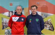 7 February 2018; IT Carlow has been successfully running two sports courses, in conjunction with the Football Association of Ireland, with students qualifying with BA in Sports Management and Coaching or BA in Sports Coaching and Business Management. Graduates from the course are now working in various roles within the sports industry around the world, including prominent positions at clubs like Manchester United, Manchester City, Reading and Leeds United as well as the SSE Airtricity League and Continental Tyres Women's National League. Pictured at the IT Carlow Sports Courses launch are Micheál Schlingermann, Sligo Rovers, left, and Luke Hardy, IT Carlow Programme Leader, at FAI Headquarters in Abbotstown, Dublin. Photo by Piaras Ó Mídheach/Sportsfile