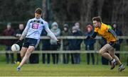 7 February 2018; Evan O'Carroll of UCD in action against Fintan Kelly of DCU during the Electric Ireland HE GAA Sigerson Cup Quarter-Final match between DCU and UCD at DCU Sportsgrounds in Ballymun, Dublin.  Photo by Piaras Ó Mídheach/Sportsfile