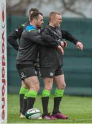 8 February 2018; Keith Earls with Cian Healy during Ireland Rugby squad training at Carton House in Kildare. Photo by Matt Browne/Sportsfile
