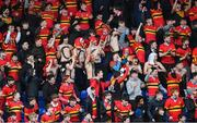 8 February 2018; CBC Monkstown supporters celebrate after their side scored a try during the Bank of Ireland Leinster Schools Junior Cup Round 1 match between CBC Monkstown and  Kilkenny College at Donnybrook Stadium in Dublin. Photo by Eóin Noonan/Sportsfile