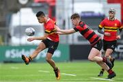 8 February 2018; Shane Gevero of CBC Monkstown is tackled by Richard Crotty of Kilkenny College during the Bank of Ireland Leinster Schools Junior Cup Round 1 match between CBC Monkstown and  Kilkenny College at Donnybrook Stadium in Dublin. Photo by Eóin Noonan/Sportsfile