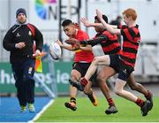8 February 2018; Shane Gevero of CBC Monkstown is tackled by Richard Crotty and Greg Edogun of Kilkenny College during the Bank of Ireland Leinster Schools Junior Cup Round 1 match between CBC Monkstown and  Kilkenny College at Donnybrook Stadium in Dublin. Photo by Eóin Noonan/Sportsfile