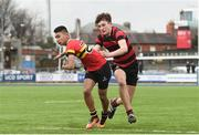 8 February 2018; Shane Gevero of CBC Monkstown is tackled by Tom Kavanagh of Kilkenny College during the Bank of Ireland Leinster Schools Junior Cup Round 1 match between CBC Monkstown and  Kilkenny College at Donnybrook Stadium in Dublin. Photo by Eóin Noonan/Sportsfile