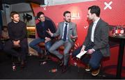 8 February 2018: Joe Molloy, right, speaks with, from left, former Ireland soccer players, Kevin Kilbane and Keith Andrews and boxer Andy Lee at the Off The Ball Launch at the Drury Buildings in Dublin. Photo by David Fitzgerald/Sportsfile