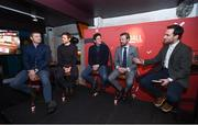 8 February 2018: Joe Molloy, right, speaks with, from left, former Leinster and Ireland rugby player Brian O'Driscoll, former Ireland soccer players, Kevin Kilbane and Keith Andrews and boxer Andy Lee at the Off The Ball Launch at the Drury Buildings in Dublin. Photo by David Fitzgerald/Sportsfile