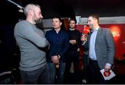 8 February 2018: Former Ireland and Leinster rugby player Brian O'Driscoll and former Ireland soccer player Kevin Kilbane take part in a quiz with members of the audience hosted by Ger Gilroy at the Off The Ball Launch at the Drury Buildings in Dublin. Photo by David Fitzgerald/Sportsfile