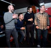 8 February 2018: Attendees, from left, former Leinster and Ireland rugby player Brian O'Driscoll and former Ireland soccer player, Kevin Kilbane take part in a quiz with members of the audience at the Off The Ball Launch at the Drury Buildings in Dublin. Photo by David Fitzgerald/Sportsfile