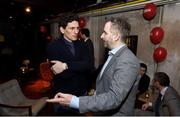 8 February 2018: Former Ireland soccer player Keith Andrews and Ger Gilroy in attendance at the Off The Ball Launch at the Drury Buildings in Dublin. Photo by David Fitzgerald/Sportsfile
