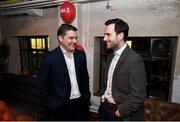 8 February 2018: Adrian Cyril, left, and Joe Molloy in attendance at the Off The Ball Launch at the Drury Buildings in Dublin. Photo by David Fitzgerald/Sportsfile