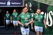 9 February 2018; Jack Conan, left, and Jack McGrath walk out prior to the Ireland Rugby Captain's Run at the Aviva Stadium in Dublin. Photo by David Fitzgerald/Sportsfile