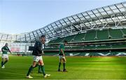 9 February 2018; Jonathan Sexton, Rob Kearney and Conor Murray walk out prior to the Ireland Rugby Captain's Run at the Aviva Stadium in Dublin. Photo by David Fitzgerald/Sportsfile
